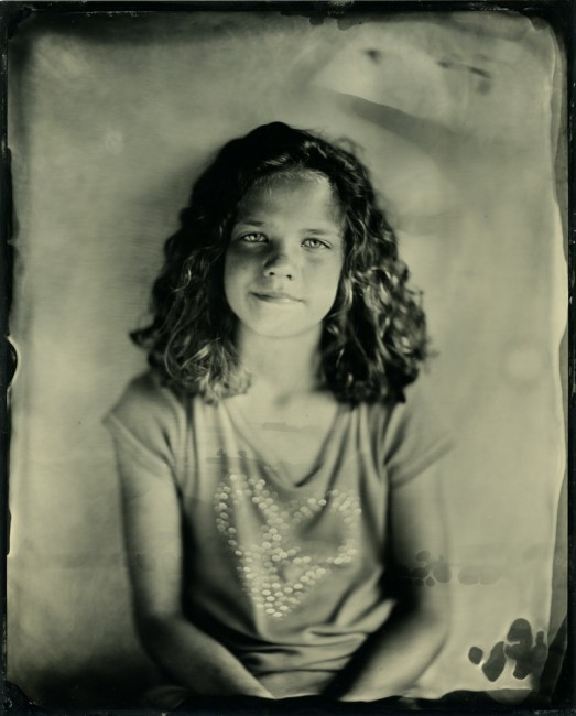 Evie - my daughter 8x10 collodion on aluminum