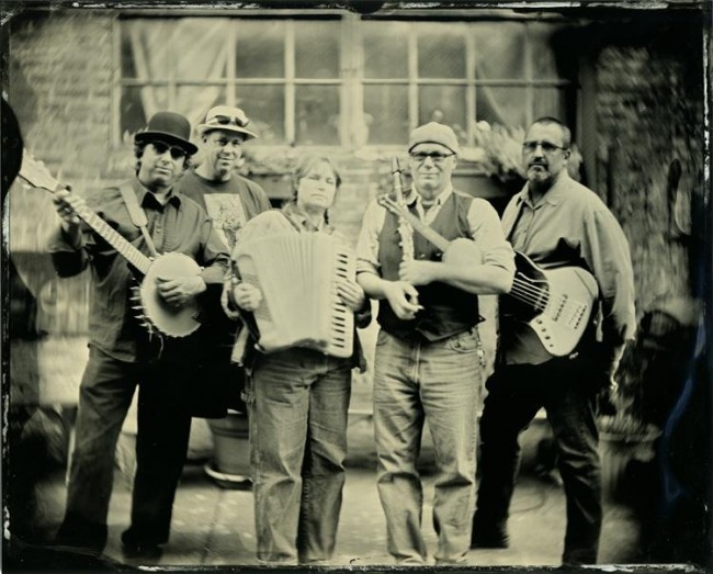 Machinery Hill - local MN folk band. 8x10 collodion on aluminum